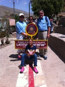 At the equator with Grammy, Mama Jen and Pop